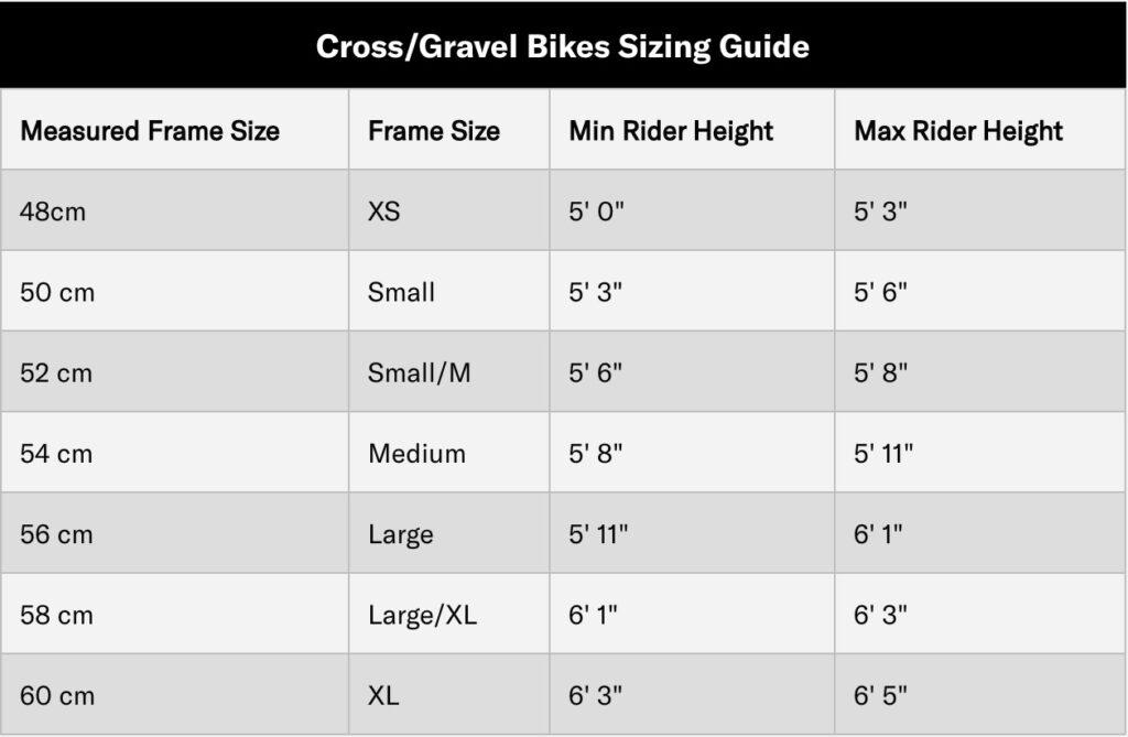 gravel bike frame size chart